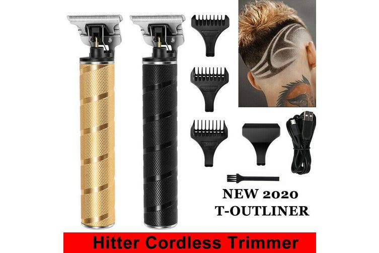 150 Minutes Runtime Electric T-outliner Cordless Trimmer Men's Fashion Retro Hair Clipper Set Barber Cutter(black)