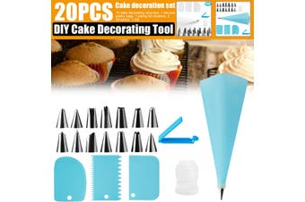 20PC DIY Cream Pastry Bag Piping Nozzle Set Cooking Kitchen Cake Decorating Tool