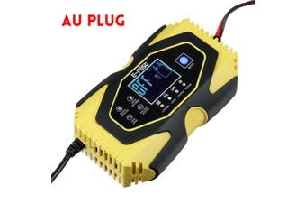 Car Battery Charger Maintainer Auto For 12.6V Lithium Lead-acid LiFePO4battery(yellow,AU PLUG 7 Stage Charge)