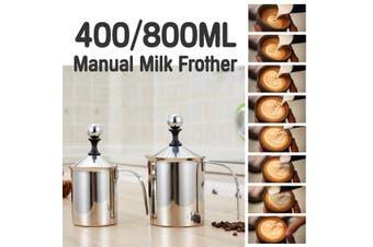 400 / 800ML Manual Milk Frother Double Mesh Coffee Cappuccino Foamer Creamer Jug(800cc)