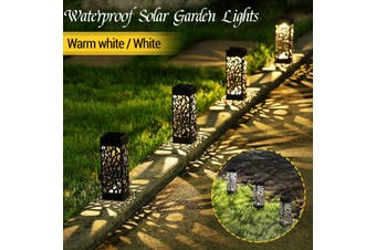 Waterproof Solar LED Lawn Light Decoration Garden Pathway Hollow Lamp Outdoor(warmyellow,1pc)