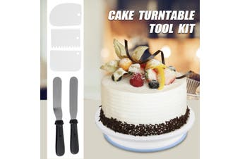"6Pcs Cake Decorating Turntable 11-24"" Set Tools Rotating Stand Smoother Spatula Plastic/Aluminium Optional(7pcs set- Plastic)"