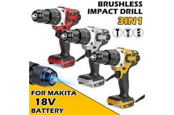 "1/2"" Brushless Cordless Drill Compact Impact Combi Drill Driver For Makita 18V Battery(yellow,Makita 18V Battery Not Included)"