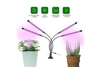 LED Grow Light Plant 4 Head Growing Lamp Lights for Indoor Plants Hydroponics(A type-3 Heads-USB Plug)