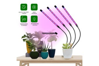 LED Grow Light Plant 4 Head Growing Lamp Lights for Indoor Plants Hydroponics(A type-4 Heads-USB Plug)