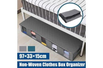 Flexible Large Capacity Under Bed Storage Bag Non-Woven Clothes Box Grey Blue(blue)