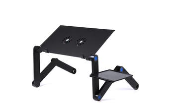360°Adjustable Folding Laptop Notebook Desk Multifunctiion Desk with Double Electronic Cooling Fan + Panel Bracket(black,Type A With 2 Cooling Fan)