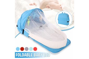 2 IN1 Foldable Portable Baby Bed & Backpack Baby Crib Nursery Travel Cot Mosquito(blue)