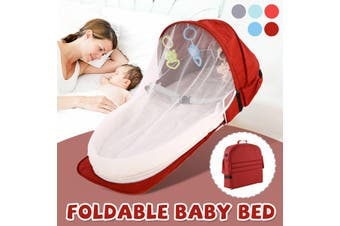 2 IN1 Foldable Portable Baby Bed & Backpack Baby Crib Nursery Travel Cot Mosquito(red)