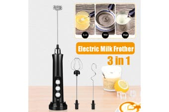 3 IN 1 Milk Frother Handheld Coffee Frother Electric Whisk USB Rechargeable Foam(black,Frother)