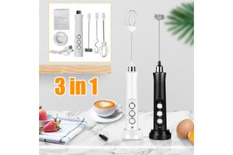 3 IN 1 Milk Frother Handheld Coffee Frother Electric Whisk USB Rechargeable Foam(white,Frother)