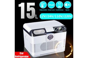 15L Portable Dual Function Cooling & Warming Refrigerator 12V/24V 110V/220V Mini Refrigerator Car Truck Camping Home Fridge Hiking