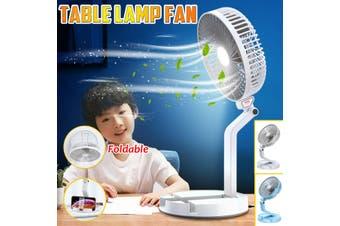 Portable Folding USB Rechargeable Telescopic Table Lamp Fan Wall-Mounted Desktop Fan(white)