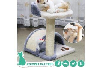Cat Tree Trees Scratching Post Scratcher Tower Condo House Furniture Wood -- Grey(brown,1x Cat Tree With Hanging Mouse)