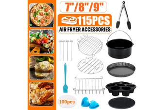 115pcs 7/8/9 Inch Air Fryer Frying Cage Dish Baking Pan Rack Pot Tray Accessorie(8 inches)