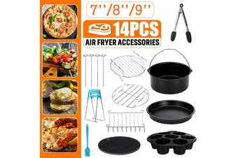 "14 PCS Air Fryer Frying Cage Dish Baking Pan Rack Tray Pot Accessories 7/8/9""(8 inches)"