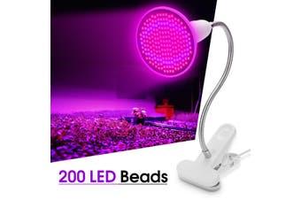 200 LED 20W LED Plant Grow Light Lamp Bulbs Clip Flower Growing Green House(B type-1 Head-AU Plug)