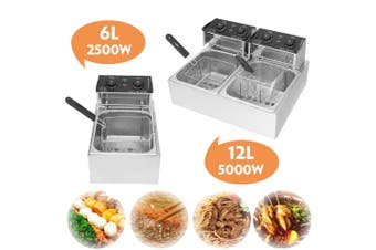 220V 6L-2500W/12L-5000W Timer Electric Fryer Deep Fryer Deep Fryer With Lids +Free Baskets