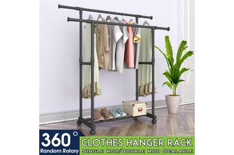 Single/Double Rod Clothes Holder Storage Rack Shelf Garment Hanger Organizer
