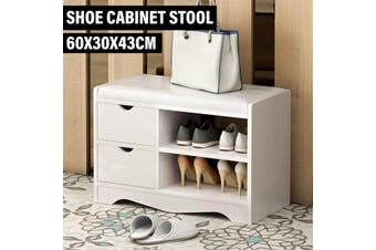 Multifunctional Wooden Shoe Storage Rack Stool Cabinet Padded Seat 60x30x43cm(white)