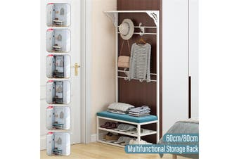 60/80cm Multifunctional Home Coat Storage Rack Shoes Stool Clothes Holder Shelf(black,80cm black)