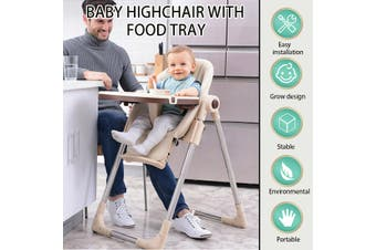Baby Kids Booster Highchair Toddler Feeding Dining Chair Table Tray +Safety Belt(champagne)