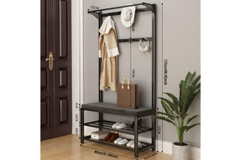 80cm Coat Hat Rack Shelf Shoe Bench Clothes Bag Hanger Storage Holder staintless steel