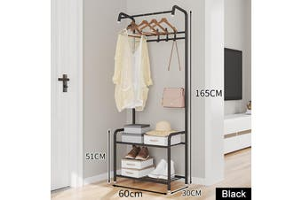 Simple Coat Rack Floor Hanger Creative Clothes Rack Storage Iron Rack Movable Metal(black)