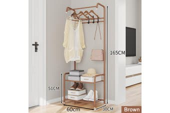 Simple Coat Rack Floor Hanger Creative Clothes Rack Storage Iron Rack Movable Metal(coffee)