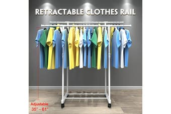 3 Styles Movable Hanger Home Clothes Rack Telescopic Multi-function Clothes Hanger White 90-145cm/ 90-155cm(Style 3 - Double pole with wheels)