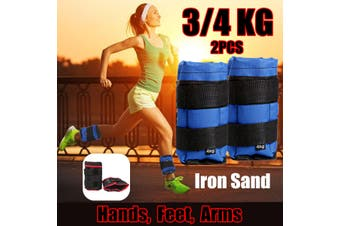 1Pair 3/4KG Ankle Weights Sandbags Adjustable Leg Wrist Straps Running Boxing Training Braclets (black,3 kg)