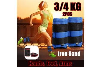 1Pair 3/4KG Ankle Weights Sandbags Adjustable Leg Wrist Straps Running Boxing Training Braclets (blue,3 kg)