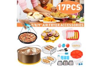 17PCS7/8/9'' Air Fryer Accessories Set Non-stick Frying Cage Dish Baking Pan(gold,8 inch)