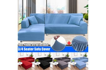Seater L Shape Sofa Cover Solid Slipcover Elastic Stretch Lounge Cover