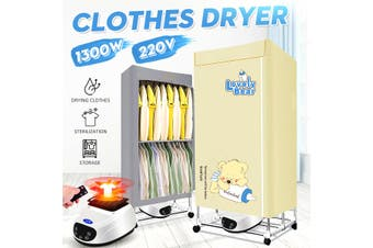 1300W 220V Foldable Clothing Dryer Electric Laundry Energy Saving Drying Rack Remote
