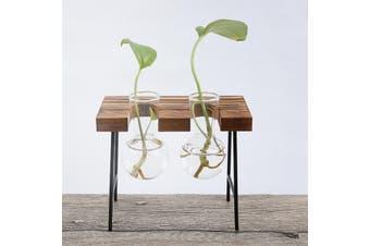 Wooden Propagation Station Hydroponic Tabletop Medium Plant Vases