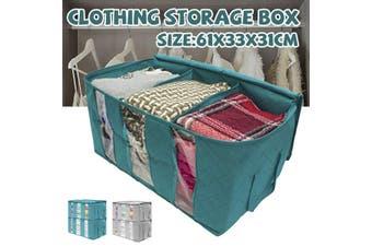 1PCS Non-woven Storage Box Quilt Foldable Storage Bag Wardrobe Clothing Storage Box(darkgreen,61x33x31cm)
