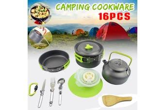 16pcs Outdoor Portable Aluminum Alloy Camping Pot Cookware Pans Kettle Set(black)