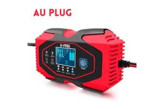 7 Stage Charging 12V/24V Mini Car Battery Charger Intelligent Automatic Portable Universal Car Charger Car Cell Charger with Digital Display(red,AU PLUG 7 Stage Charge)