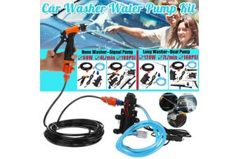 12V 100/160PSI Car Washer High Pressure Self Priming Water Signal/Dual Pump Kit (grey,Type1)
