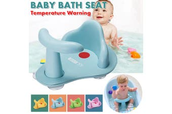 Foldable Support Baby Bath Chair Seat Safety Bathtub Bathing Shower Baby Bath Tub Chair Seat with Temperature Warning Leather Anti-slip Mat(blue)