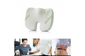 Bamboo Memory Foam Seat Cushion Lumbar Back Support Orthoped Home Car Office Chair Seat Pad Mat Pain/Stress Relief(Only 1PCS Seat Cover)