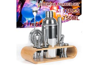 12pcs 750ml / 550ml Cocktail Shaker Mixer Maker Bar Drinks Gift Set With Strainer Wood Stand Set Stainless Steel (550ML Type3)