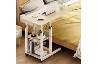 3 Tier Height Adjustable Computer Table Portable Solid Wood Laptop Desk(wood,Maple Sakuragi)