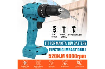 18V 520N.m. Li-Ion Cordless Brushless Drill 3/8'' Impact Drill Driver Replacement for Makita Battery with LED Working Light (With Impact Drill)