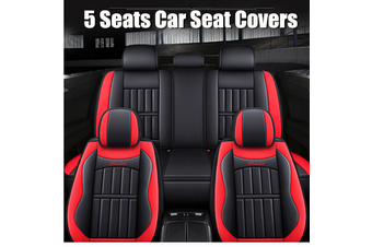 5 Seats Car Seat Covers Universal PU Leather Seat Cushion Non-slip Protector Mat #Red(Red)