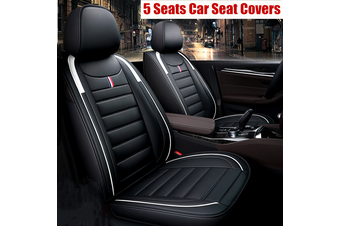 5 Seats Universal Car Seat Covers Deluxe PU Leather Seat Cushion Full Set Cover #Black-lined(black)