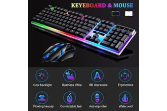 Wired USB Color Light Fixed Automatically Changes Color Keyboard And Mouse Set White Black(white,Only 1 mouse(Without Light))