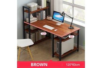 Office Computer Study Desk Table Workstation Storage + 4/5 Tiers Shelf Bookshelf(Brown,120cm)