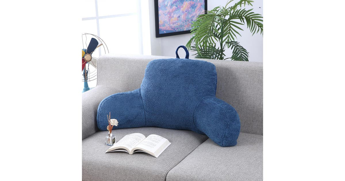 bed rest backrest pillow with arms reading plush lumbar support home office blue pillows